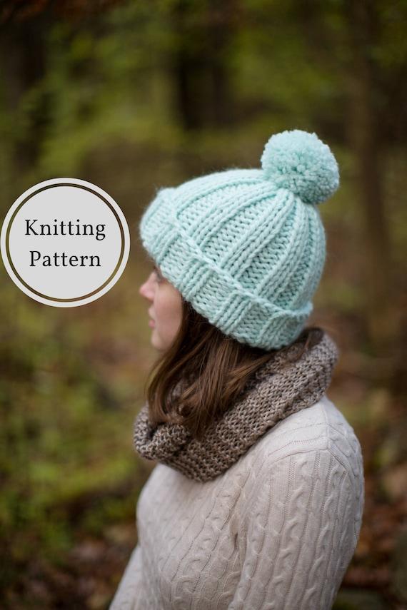 Aurora Chunky Beanie Knitting Pattern Beginner Hat Knitting Pattern Chunky Knit Hat Pattern Easy Beginner Friendly Knit Hat Pattern