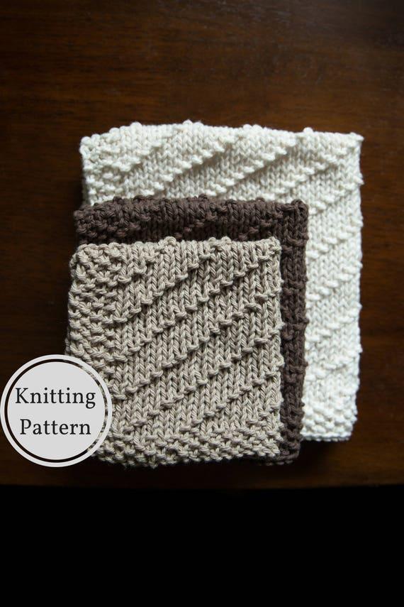 Washcloth Dishcloth Pattern Easy Knit Washcloth Pattern Etsy