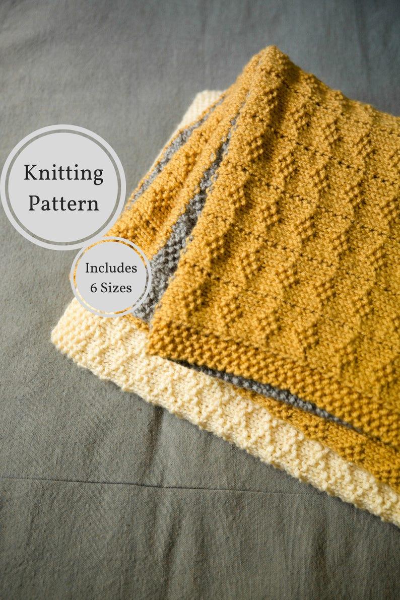 Seed Stitch Diamonds Blanket Knitting Pattern Easy Knitting Etsy