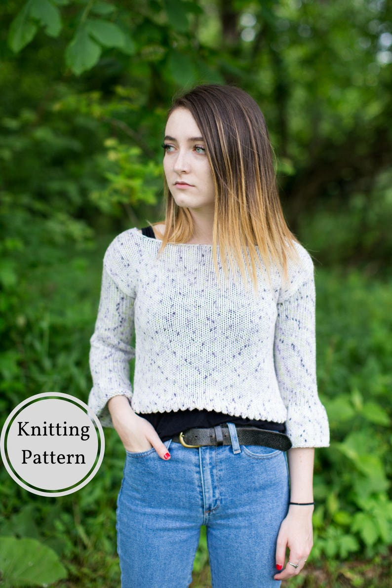 86ede4980a298 Savannah Lace Crop Top w  Ruffled Sleeves Knit Top Pattern