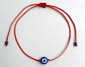 Blue Evil eye bracelet Red string bracelet Simple jewelry Minimalist Lucky bracelet Unisex Adjustable Stacking spiritual Buddhist Kabbalah