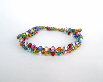 Glass bead bracelet, Seed bead bracelet, Beaded bracelet, Christmas stocking, Stocking stuffers, Christmas gift, Colorful bracelet, EGST