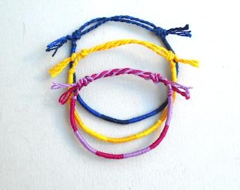 Tricolor bracelet Very thin rope friendship bracelet Cotton perle thread Surfer aesthetic Colorful Summer Beach jewelry Wrist wrap bracelet