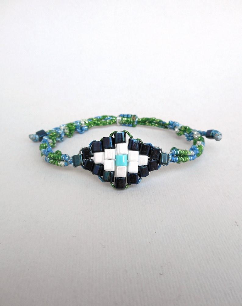 Mosaic evil eye macrame bracelet Metallic blue Christmas gift Beaded Greek jewelry Talisman protection Contemporary jewelry Stocking stuffer