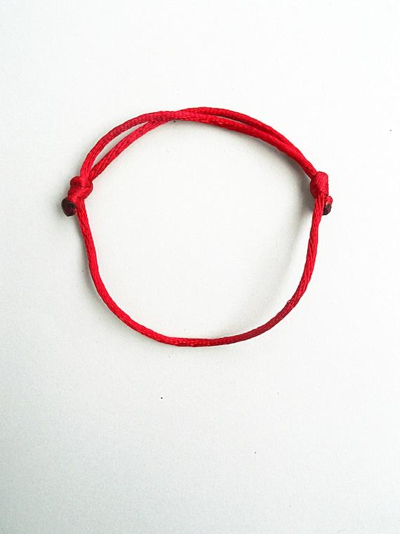 Simple chaîne porte-bonheur Bracelet noir rouge queue de rat   Etsy a76dc1966cf0