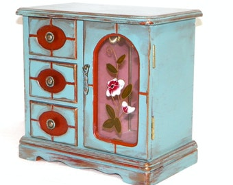 hand paintd Blue & gold wood jewelry box 8x5x8 stained glass upcycled painted wood jewelry chest, turquoise teal wood box