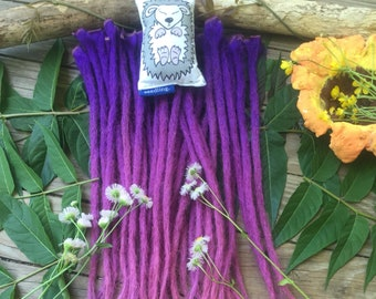 Human Hair Dreadlock Extensions Set of 30 GORGEOUS Purple Pink Ombre 18 Inches Ready to Ship