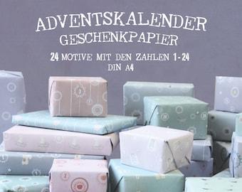 Advent Calendar Paperset 24 sheets din A4