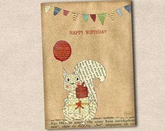 Postcard Happy Birthday Squirrel