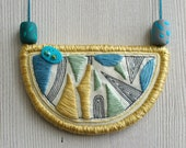 Geometric bib necklace, Fabric necklace, embroidery necklace, triangles necklace blue and yellow pendant geometric jewelry statement pendant