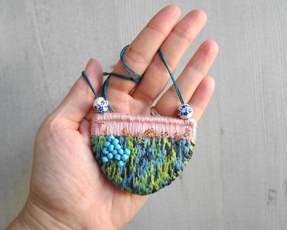Bib fabric necklaces Bib fabric collar Embroidered necklace Bib Necklace Linen jewelry Textile necklace Fabric necklace Boho jewelry