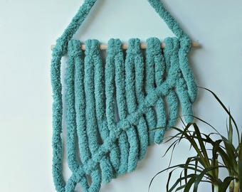 Yarn wall hanging Jungalow Chunky tapestry Modern macrame wall hanger Teal hanging decor Nursery Over the crib Cozy baby room decor