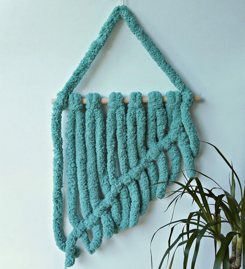 Chunky macrame wall hanging in Teal home decor