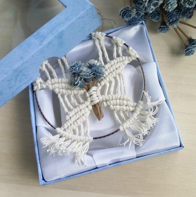 Modern Wedding Gifts: Bridesmaid Gift Dusty Blue Wedding Favors Modern Macrame