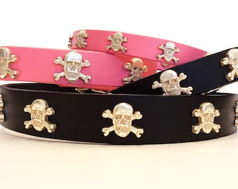 Skulls Leather Collar