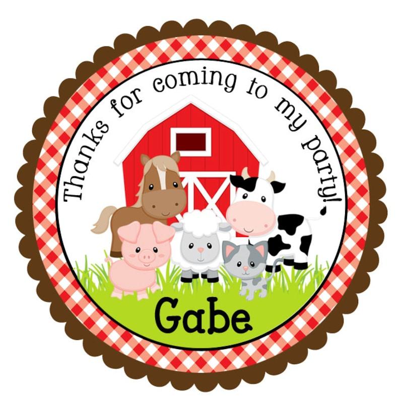 Farm Birthday Stickers-Personalized Farm Birthday Stickers-Set of 12