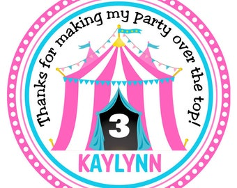 Circus Birthday Stickers-Carnival Birthday Tags-Under the Big Top Stickers-Set of 12