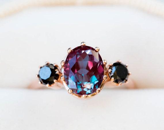 Alexandrite diamond three stone engagement ring, oval diamond ring, unique engagement ring, black diamond alexandrite ring, color changing
