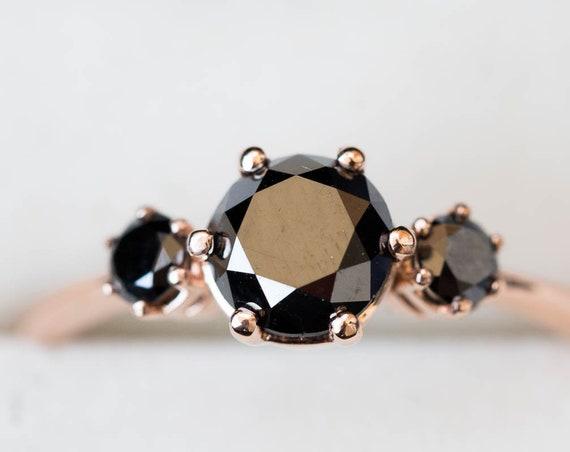 Black diamond rose gold engagement ring, unique black diamond ring, round stone engagement ring, alternative bridal, 14k gold diamond ring