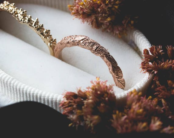 14k gold twig wedding band, 14k gold matching twig nature band, gold leaf wedding band, leaf twig ring, simple rustic nature wedding band