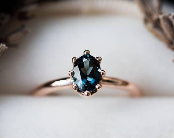 London blue topaz 14k gold engagement ring, 14k gold classic engagement ring, rustic topaz engagement ring, london blue gold ring, gold ring