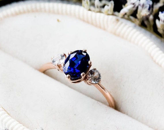Oval blue sapphire three stone 14k gold engagement ring, lab created sapphire engagement ring, alternative bridal, blue stone rose gold ring