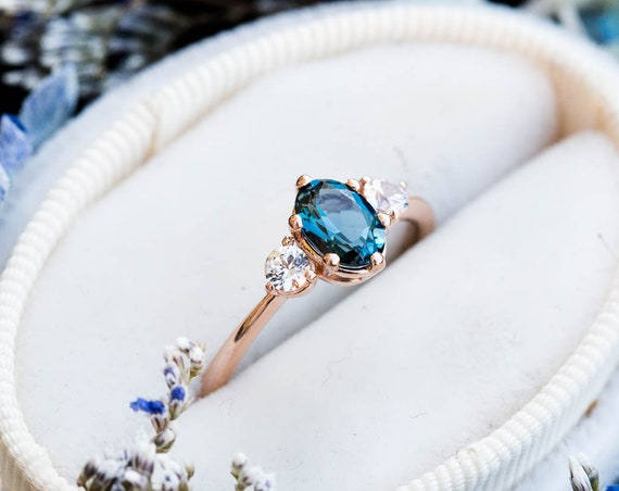 London blue topaz 14k gold engagement ring, unique engagement ring, alternative bridal, teal rose gold ring, three stone engagement ring
