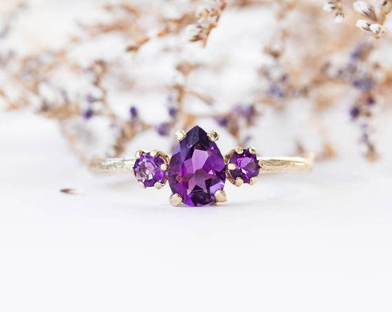 Amethyst pear 14k gold twig engagement ring, amethyst twig engagement ring, three stone amethyst engagement ring, purple engagement ring