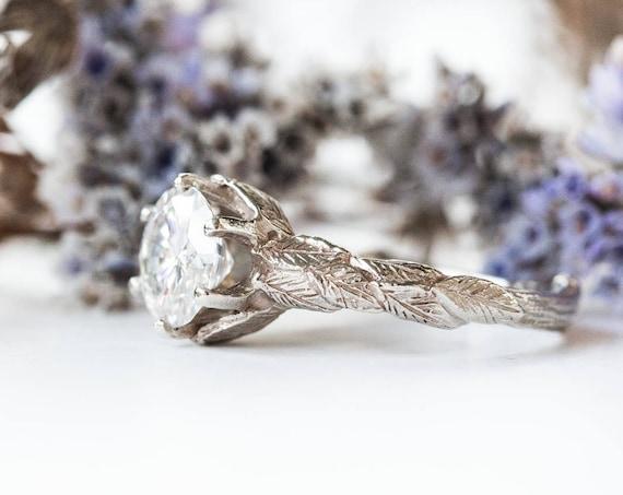 14k gold moissanite leaf twig engagement ring, forever one moissanite gold engagement ring, twig nature ring, diamond twig ring