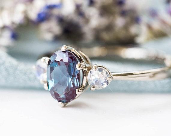 Alexandrite moonstone three stone 14k gold engagement ring, alexandrite engagement ring, alternative bridal, alexandrite rose gold ring