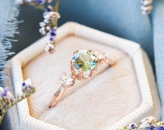 Green parti sapphire twig engagement ring, 14k twig engagement ring, green sapphire ring, unique engagement ring, gold ring, parti sapphire