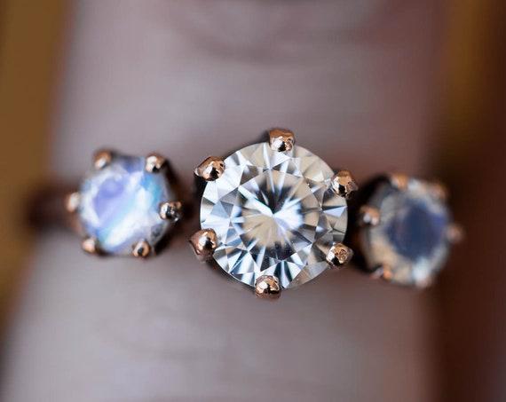 Moissanite and moonstone 14k rose gold engagement ring, rose gold moonstone engagement ring, moonstone engagement ring, unique engagement