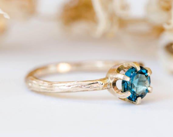 14k gold twig gemstone engagement ring, london blue topaz engagement ring, moissanite morganite twig engagement ring, garnet engagement ring