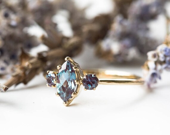 Marquise alexandrite 14k three stone engagement ring, gold engagement ring, unique alexandrite ring,evenstar ring, vintage inspired ring