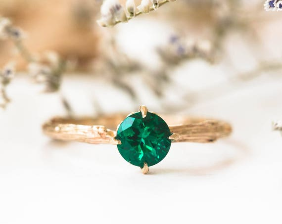 Chatham emerald 14k gold classic engagement ring, solitaire emerald engagement ring, vintage inspired twig engagement ring