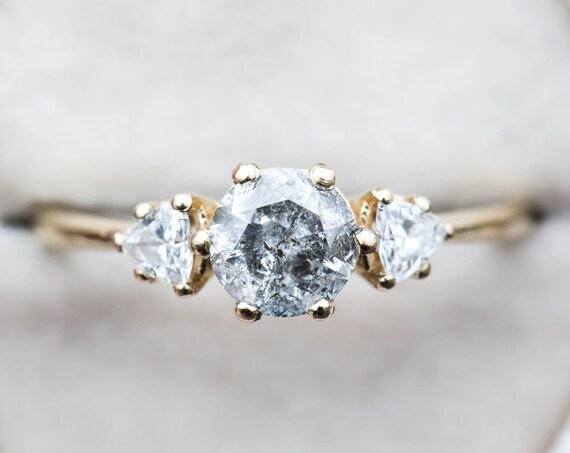 Salt and pepper diamond three stone gold engagement ring, unique engagement ring, unique diamond ring, alternative bridal, grey diamond ring