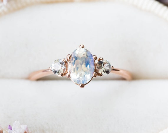 Moonstone sapphire three stone 14k gold engagement ring, moonstone engagement ring, alternative bridal, moonstone rose gold ring, fantasy