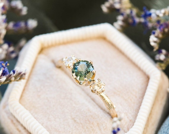Blue green sapphire twig engagement ring, 14k twig engagement ring, green sapphire ring, unique engagement ring, teal sapphire mermaid ring