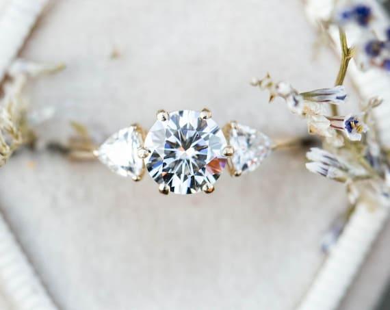 Moissanite three stone engagement ring, gold moissanite engagement ring, classic trillion three stone ring, gold classic engagement ring