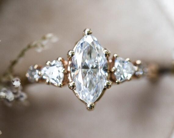 Marquise moissanite five stone cluster engagement ring, 14k gold ring, moissanite ring, fine jewelry ring, unique engagement ring, twig ring