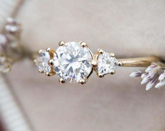 Moissanite three stone gold engagement ring, unique engagement ring, round stone engagement ring, alternative bridal, trillion three stone