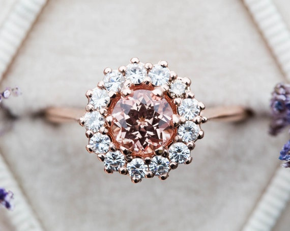 Peach sapphire cluster halo engagement ring, unique engagement ring, sapphire halo ring, vintage inspired ring, 14k halo cluster ring, oore