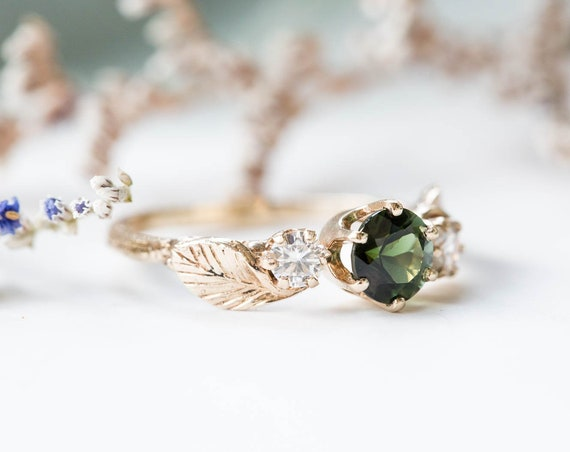 Tourmaline and moissanite leaf twig engagement ring, twig nature moissanite ring, three stone ring, 14k gold engagement ring tourmaline