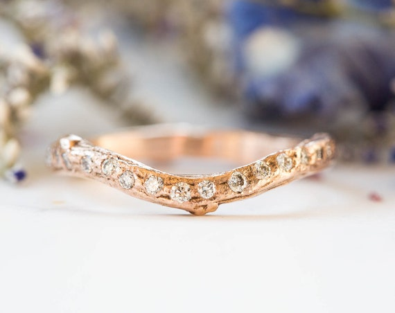 14k gold diamond encrusted twig wedding band, diamond twig wedding band, sparkly stacking band, diamond wedding band, curved wedding ring