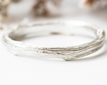 Sterling silver twig band, matching twig band engagement ring, silver twig ring