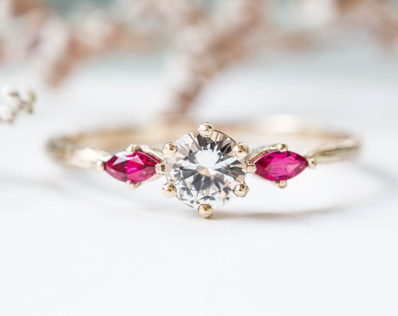 White sapphire and ruby twig engagement ring, three stone ring, 14k gold ring, twig ring, marquise ring, alternative engagement ring, oore