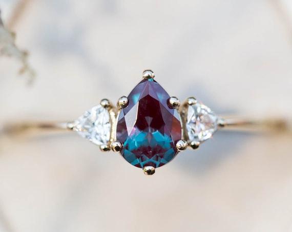 Alexandrite moissanite three stone engagement ring, pear engagement ring, three stone ring, trillion pear engagement ring, unique engagement