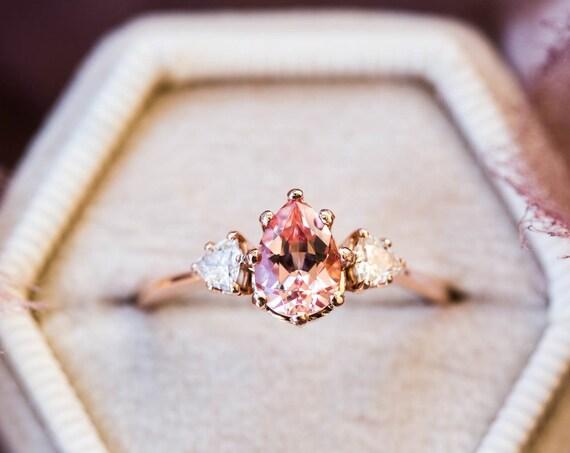 Peach sapphire moissanite three stone engagement ring, pear engagement ring, three stone ring, peach engagement ring, unique engagement