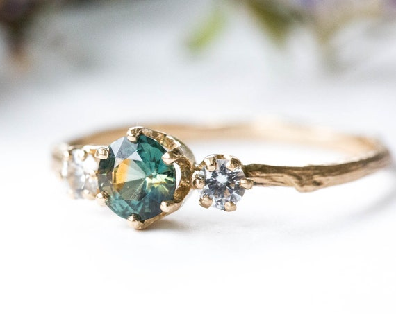 Blue green parti sapphire twig engagement ring, 14k twig engagement ring, green sapphire ring, unique engagement ring, teal mermaid ring