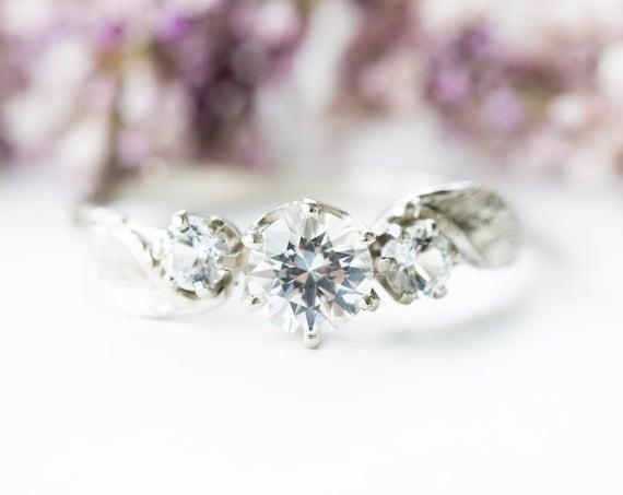 Three stone leaf white sapphire 14k gold twig engagement ring, three stone engagement ring, gold twig ring, leaf engagement ring, leaf ring